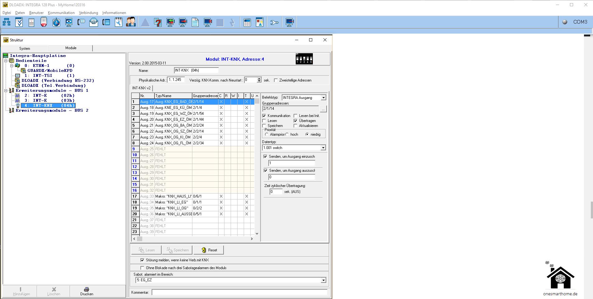 Konfiguration INT-KNX-2
