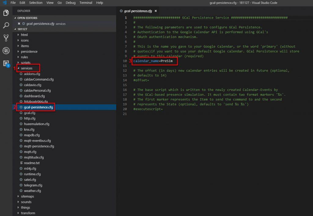 openHAB Presence Simulation Google Calendar Scheduler