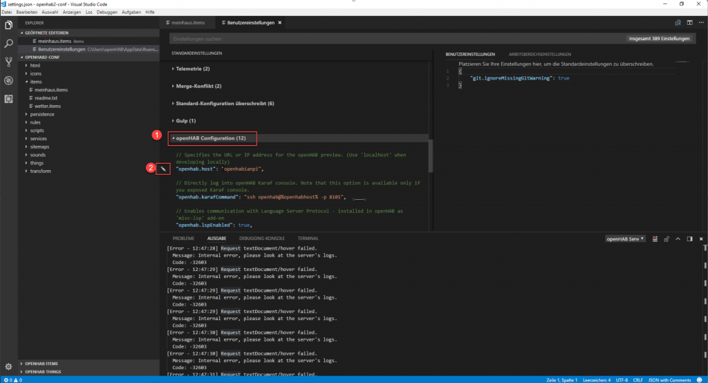 openHAB-Visual-Studio-Code-Hostname-2
