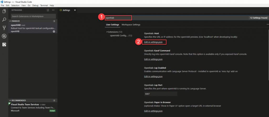 VS-Code-openHAB-Set-Host